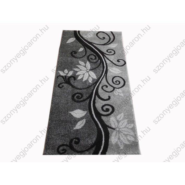 Virág mintás fekete fehér Futószőnyeg 80 x 300 cm