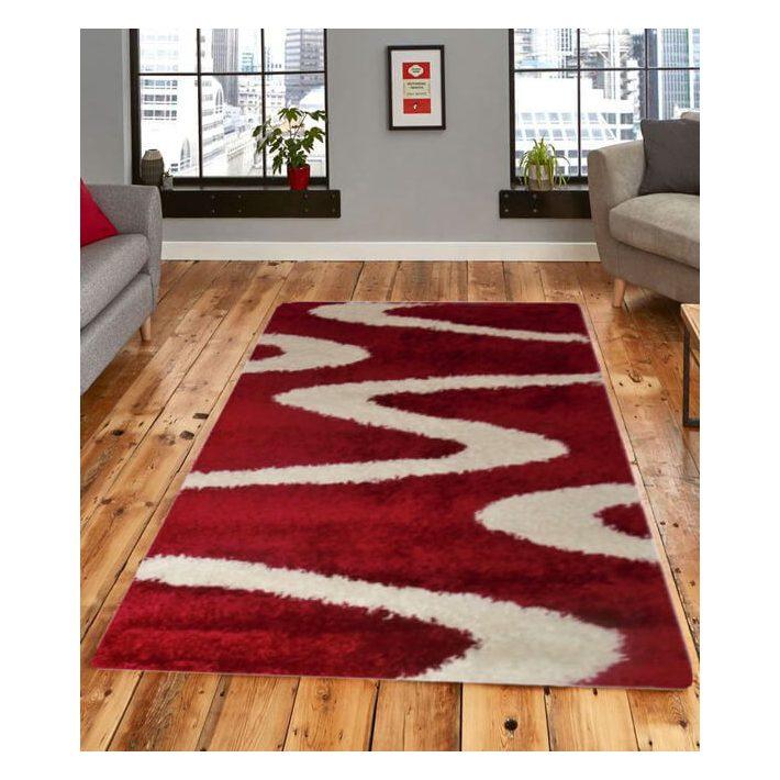 Fenséges Tűzpiros-Fehér Shaggy szőnyeg 125 x 200cm