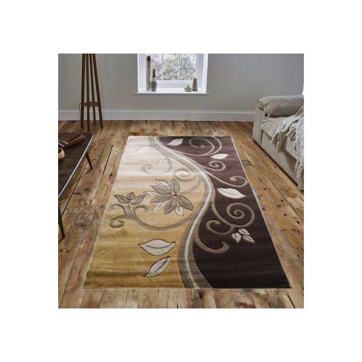 Corina Nyírt Arany Barna futó virág mintás szőnyeg 150 x 230 cm