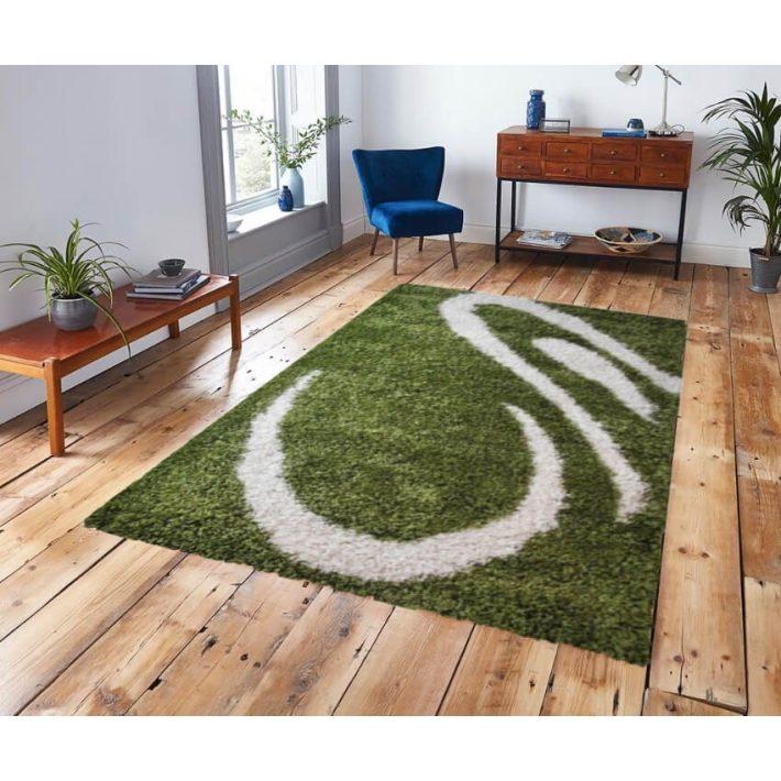Debie Fehér Zöld Shaggy Szőnyeg 300 x 400 cm
