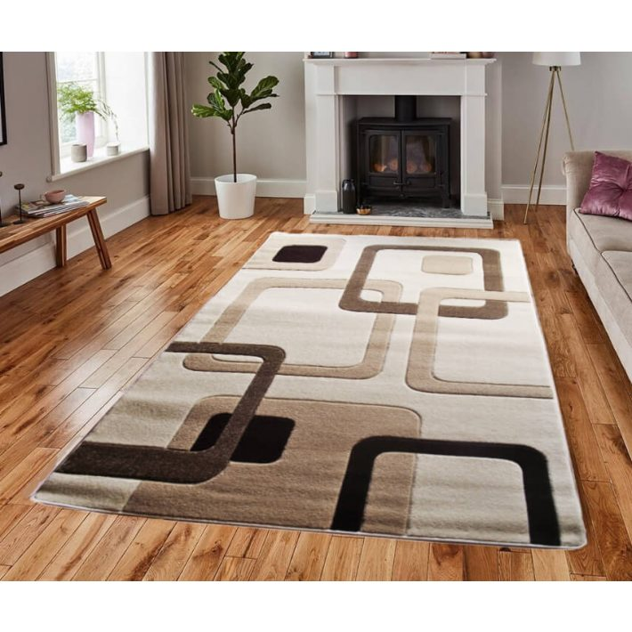 Domino Bézs Barna Modern Szőnyeg 200 x 280 cm