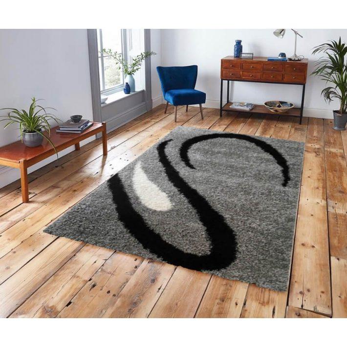 Monica Shaggy Ezüst Fekete szőnyeg 250 x 350 cm
