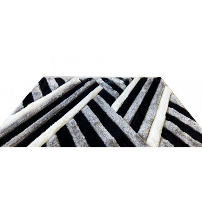 Stefánia Fehér Zöld Shaggy Szőnyeg 120 x 170 cm