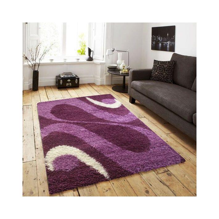 Merida vastag Lila-Fehér Shaggy szőnyeg 80 x 150 cm