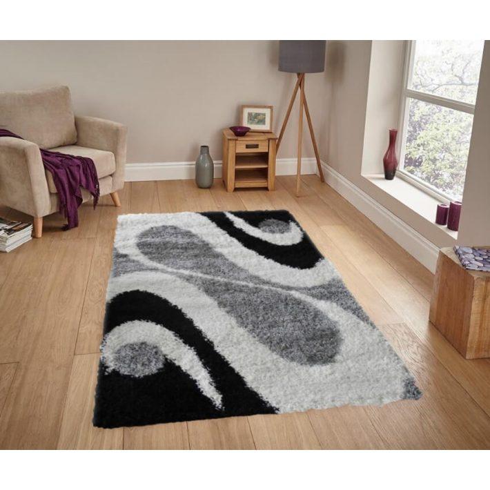 Tom fekete fehér szürke shaggy szőnyeg 200x300cm