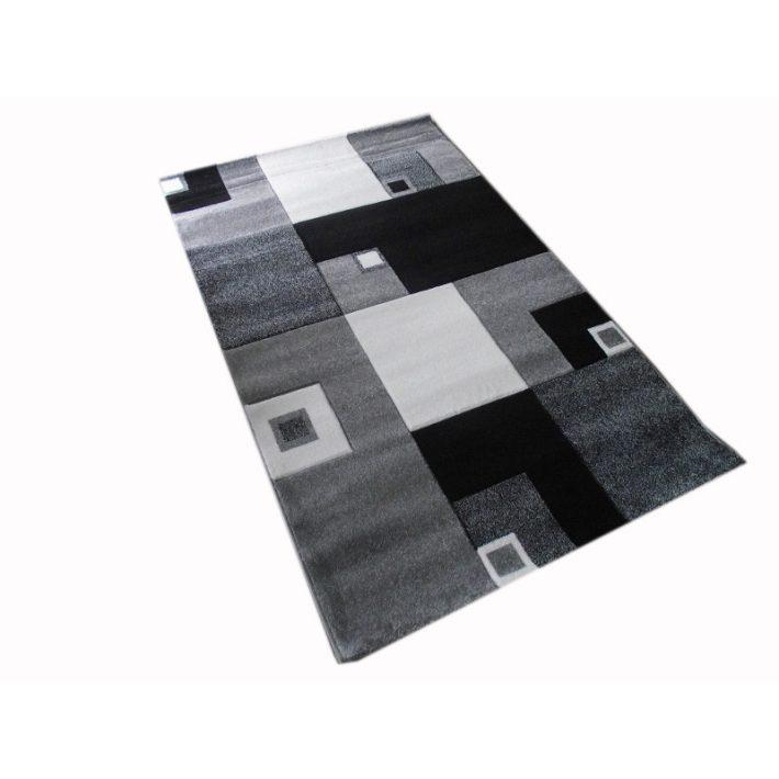 Szerafine Nyírt Fehér Szürke Fekete szőnyeg 125 x 200 cm
