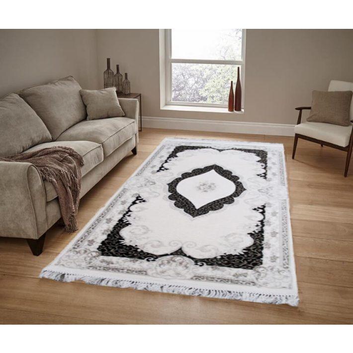 Marbella minőségi rojtos fehér szürke szőnyeg
