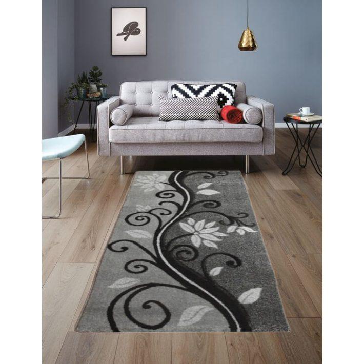 Grado Nyírt Fekete Fehér Szürke szőnyeg 80 x 150 cm