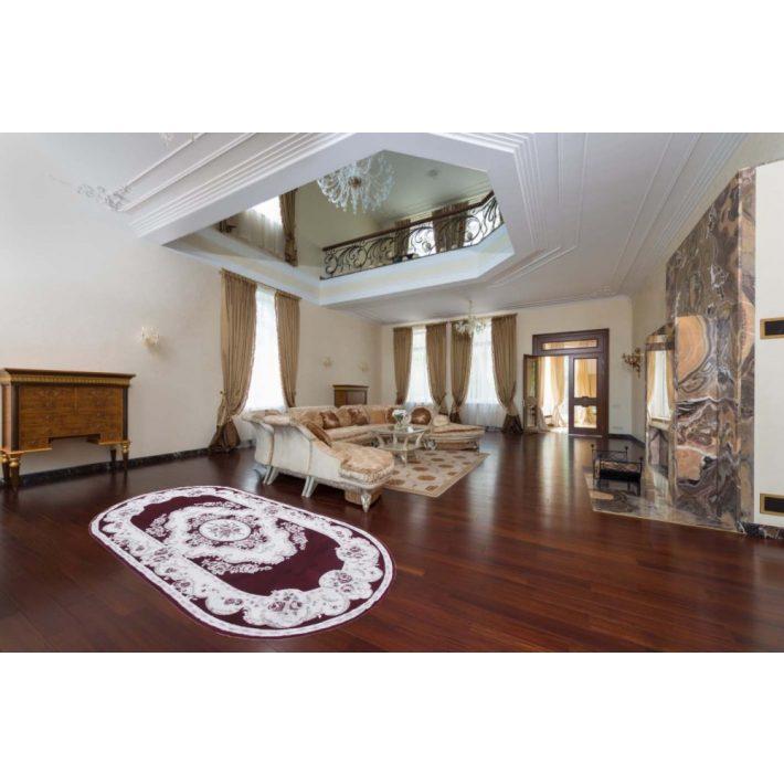 Fuenlabrada prémium ovális bordó fehér szőnyeg