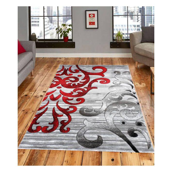 Curug piros szürke mintás nyírt szőnyeg 70 x 100 cm