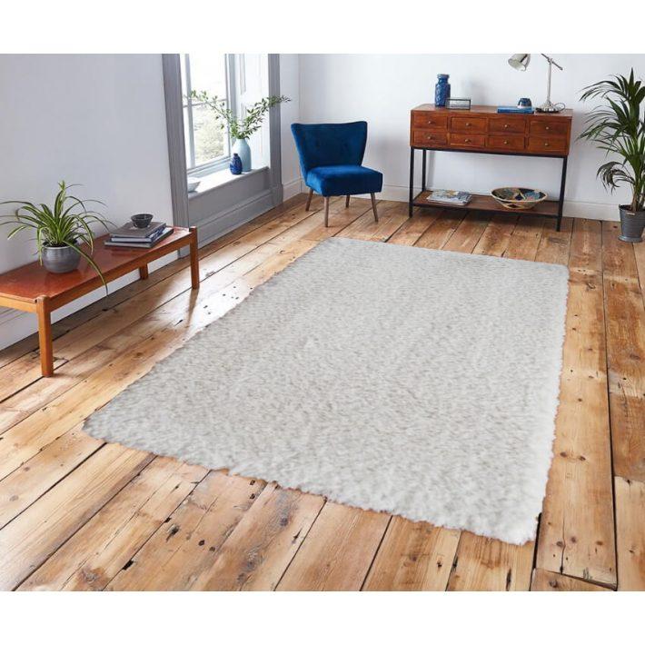 Hópihe Shaggy tört fehér szőnyeg 125x200cm