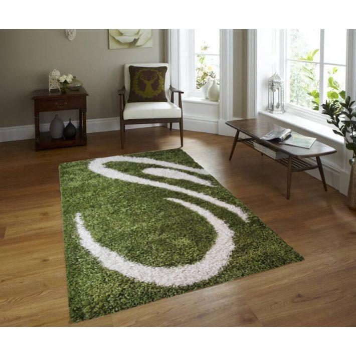 Különleges Fűzöld-Fehér Shaggy szőnyeg 150 x 230 cm