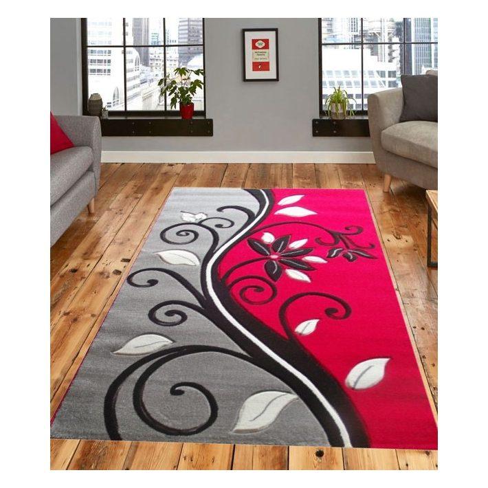 Saloma Nyírt piros-szürke szőnyeg 80x150cm