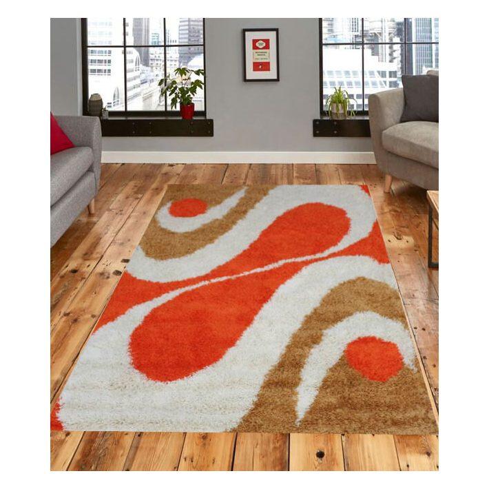 Napsugár Shaggy Narancs Fehér Szőnyeg 200x300 shaggy szőnyeg webáruház