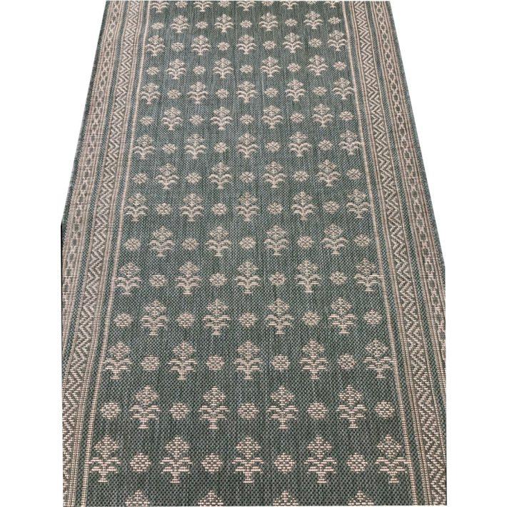 Huba Apró Virágos Zöld Bézs Tekercses Futószőnyeg 80 cm Széles